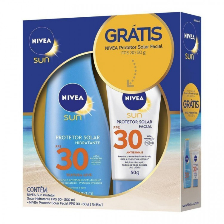 Kit Nivea Sun Protetor Solar Hidratante FPS 30 200ml + Facial FPS 30 50g